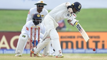 Abhinav Mukund hits down the ground