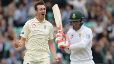 Toby Roland-Jones celebrates getting rid of Heino Kuhn lbw