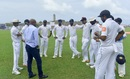 Sanath Jayasuriya chats with the Sri Lankan players, Sri Lanka v India, 1st Test, Galle, 4th day, July 29, 2017