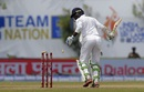 Upul Tharanga watches the leg bail fly, Sri Lanka v India, 1st Test, Galle, 4th day, July 29, 2017