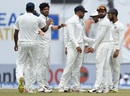 Umesh Yadav is mobbed by his team-mates, Sri Lanka v India, 1st Test, Galle, 4th day, July 29, 2017