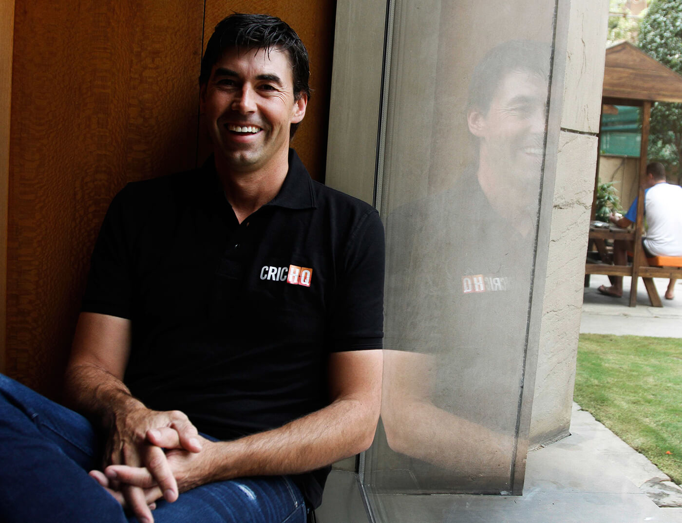 Stephen Fleming smiles during a photo shoot at the ITC Maurya Sheraton hotel in New Delhi
