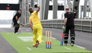 Stephen Fleming and Andy Bichel about to play cricket on Auckland Harbour Bridge, marking 100 days to go until the 2015 World Cup, October 26, 2014