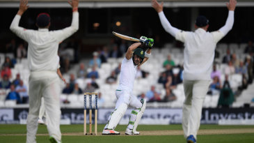 England appeal after Faf du Plessis shoulders arms to an inswinger