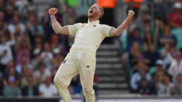 Ben Stokes roars after taking two in two