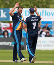 Ben Cotton celebrates a wicket, Derbyshire v Leicestershire, NatWest T20 Blast, North Group, Derby, July 31, 2017