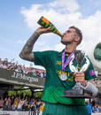 Alex Hales celebrates Nottinghamshire's win in the Royal London Cup final, Notts v Surrey, Royal London Cup final, Lord's, July 1, 2017