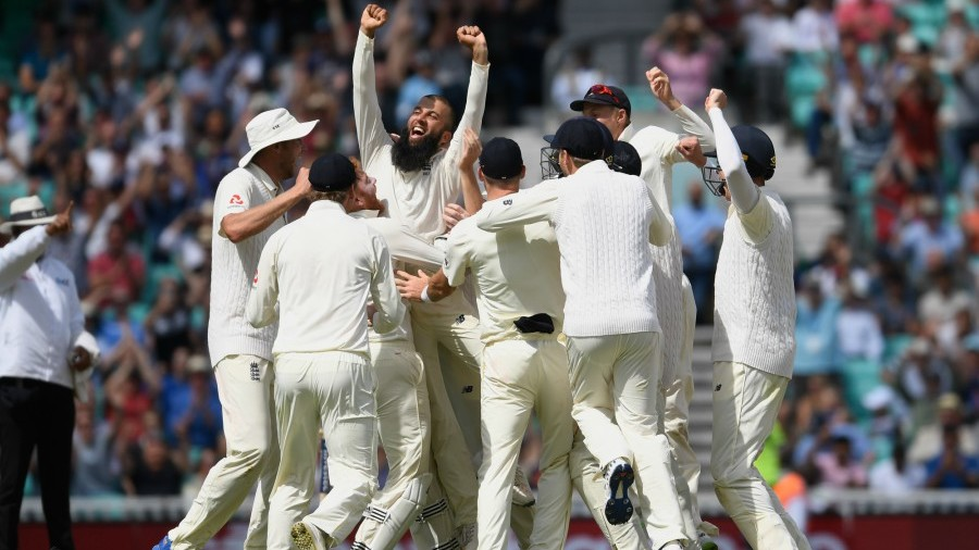 Moeen Ali is hoisted after completing his hat-trick