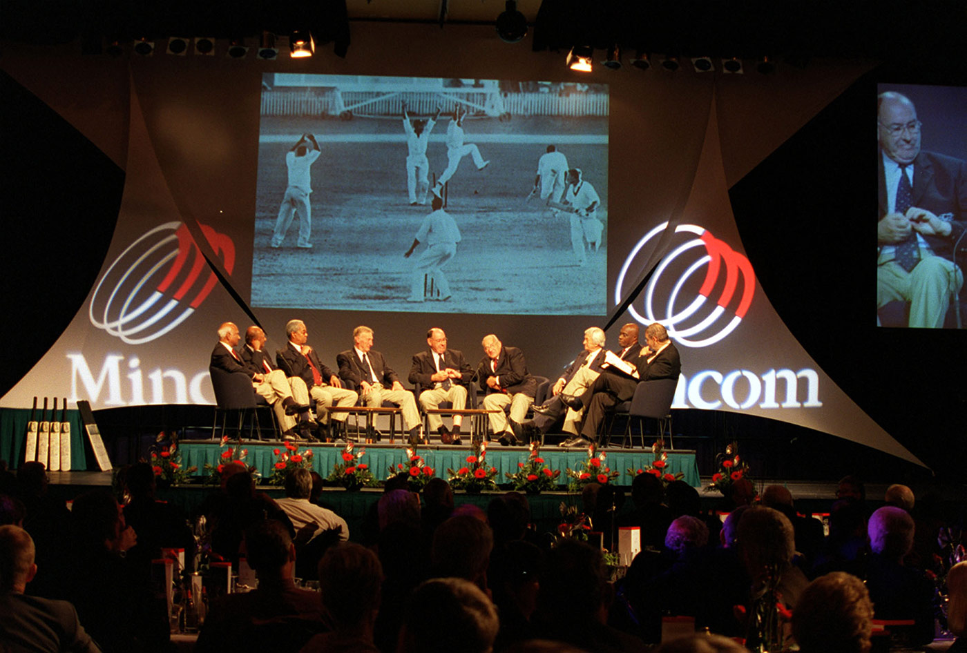 Players who figured in the 1960 tied Test in Brisbane sit on stage at the reunion