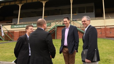 Tony Dodemaide (far right) with James Sutherland at the Junction Oval redevelopment announcement