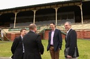 Tony Dodemaide (far right) with James Sutherland at the Junction Oval redevelopment announcement, Melbourne, August 25, 2013