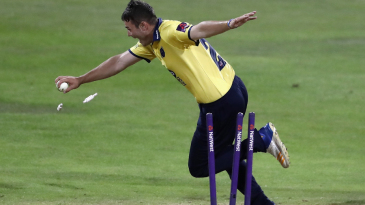 Aaron Thomason completes the last-ball run out to give Birmingham a two-run victory against Northants
