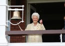 Eileen Ash, the oldest living Test cricketer, rings the bell before the match, England v India, Women's World Cup final, Lord's, July 23, 2017