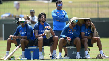 R Ashwin, Ishant Sharma, Umesh Yadav and Bhuvneshwar Kumar rest during a practice session at the SSC