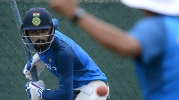 KL Rahul faces a delivery in the nets