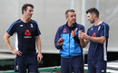 Toby Roland-Jones and James Anderson gets some tips from Dominic Cork, Old Trafford, August 2, 2017