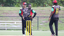Mohammad Nabi and Jonathan Carter celebrate after a wicket, USA v St Kitts & Nevis Patriots, Lauderhill, August 2, 2017