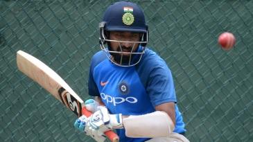 Cheteshwar Pujara eyes the ball during a net session
