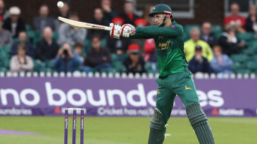 Alex Hales frees his arms over the off side