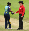 Umpire Claire Polosak takes the ball from Oshadi Ranasinghe, West Indies v Sri Lanka, Women's World Cup, July 9, 2017