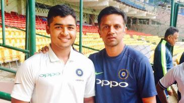 Riyan Parag with India A coach Rahul Dravid at the National Cricket Academy in Bengaluru