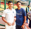 Riyan Parag with India A coach Rahul Dravid at the National Cricket Academy in Bengaluru, June 2017