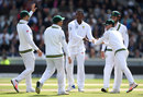Kagiso Rabada made the breakthrough by removing Toby Roland-Jones, England v South Africa, 4th Investec Test, Old Trafford, 2nd day, August 5, 2017
