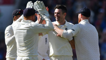 James Anderson produced a three-wicket burst from the James Anderson End