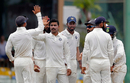 Ravindra Jadeja gets a high-five from his captain on removing Dhananjaya de Silva, Sri Lanka v India, 2nd Test, SSC, 4th day, Colombo, August 6, 2017