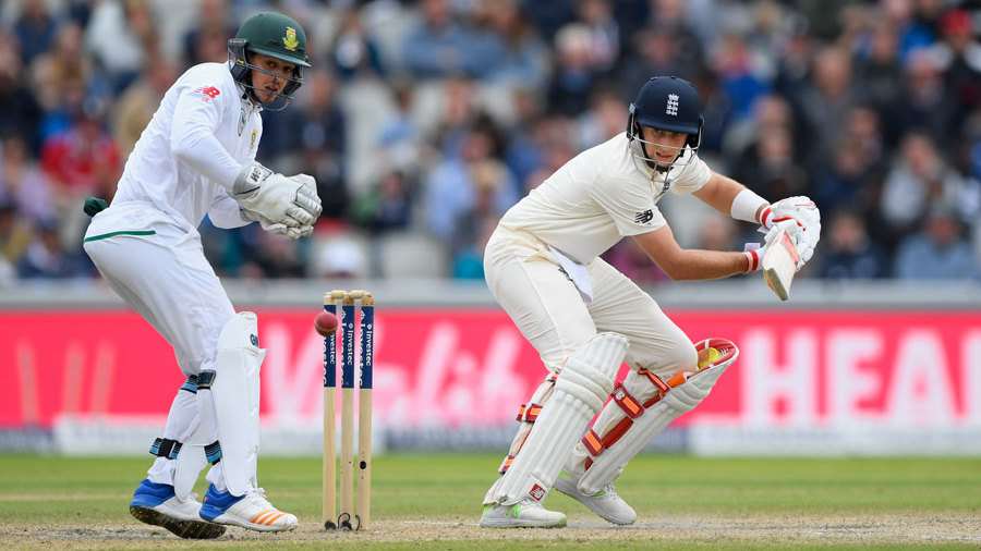 Joe Root plays a late cut