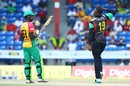 Sheldon Cottrell bids adieu to Chadwick Walton with a salute, St Kitts and Nevis Patriots v Guyana Amazon Warriors, CPL 2017, Lauderhill, August 6, 2017