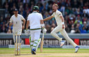 Stuart Broad claimed the early wicket of Dean Elgar, England v South Africa, 4th Investec Test, Old Trafford, 4th day, August 7, 2017