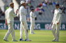 Ben Stokes, Stuart Broad and Joe Root consider England's plan of attack, England v South Africa, 4th Investec Test, Old Trafford, 4th day, August 7, 2017