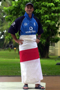 Graham Thorpe wraps an England flag around him like a sarong after being named captain for the one-day series in Sri Lanka, Colombo, March 19, 2001