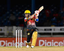 Brendon McCullum slashes through the off side during the Powerplay, T&T Riders v Jamaica Tallawahs, CPL 2017, Port of Spain