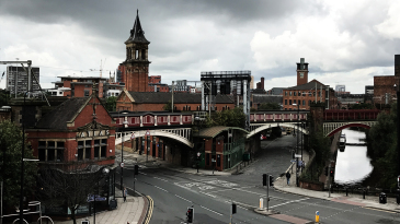 The Deansgate railway arches alongside the Bridgewater Canal in Manchester