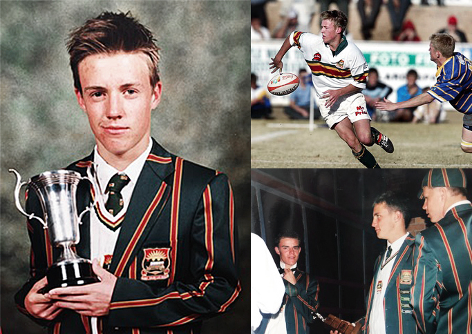 (Clockwise from left): A young AB de Villiers at the Affies' 2002 honours awards; de Villiers playing school rugby; Heino Kuhn (left) and Faf du Plessis receiving end-of-season awards in 2002