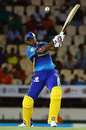 Kieron Pollard hits a six over long-off off the back foot, St Lucia Stars v Barbados Tridents, CPL, Gros Islet, August 10, 2017