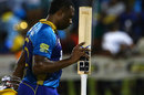 Kieron Pollard walks off after smashing 28 off the last over, St Lucia Stars v Barbados Tridents, CPL, Gros Islet, August 10, 2017