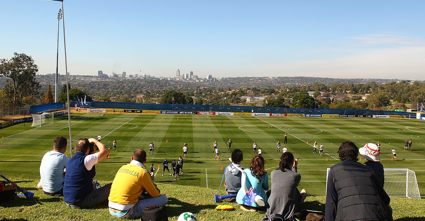 The Socceroos train in St Stithians ahead of the 2010 football World Cup