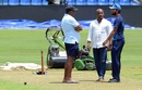 Asanka Gurusinha, Sanath Jayasuriya, and Dinesh Chandimal have a chat, Pallekele, August 11, 2017