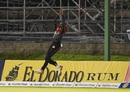 Khary Pierre takes an acrobatic catch in the deep, Trinbago Knight Riders v Guyana Amazon Warriors, CPL 2017, Port of Spain, August 11, 2017