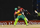 Khary Pierre and Chadwick Walton found themselves in a tangle, Trinbago Knight Riders v Guyana Amazon Warriors, CPL 2017, Port of Spain, August 11, 2017