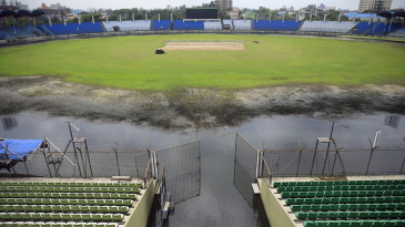 An inundated Khan Shaheb Osman Ali Stadium as seen from the ground's southern stands