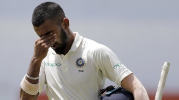 KL Rahul walks off after falling short of a century by 15 runs
