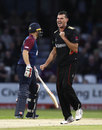 Clint McKay celebrates the wicket of Ben Duckett for 1, Northamptonshire v Leicestershire, NatWest T20 Blast, North Group, Wantage Road, August 11, 2017
