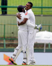 Vishwa Fernando celebrates after dismissing Wriddhiman Saha for 16 early on the second day, Sri Lanka v India, 3rd Test, 2nd day, Pallekele, August 13, 2017