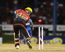 Brendon McCullum has his stumps taken out, Barbados Tridents v Trinbago Knight Riders, CPL 2017, Port of Spain, August 12, 2017