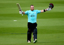 Aaron Finch soaks up the applause after a brutal hundred against Sussex at Kia Oval, Surrey v Sussex, NatWest Blast, South Group, Kia Oval, August 13, 2017