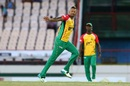 Rayad Emrit celebrates the wicket of Marlon Samuels, St Lucia Stars v Guyana Amazon Warriors, CPL 2017, Gros Islet, August 13, 2017